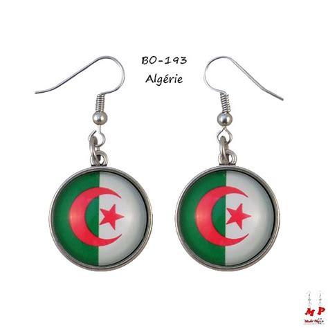 boucles d oreilles pendantes drapeaux algerie modet