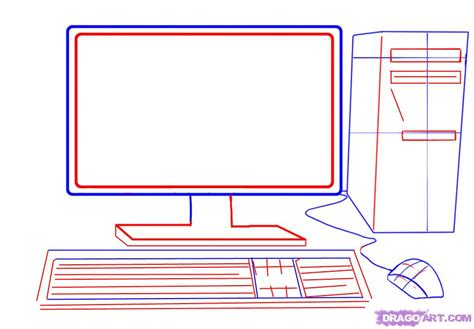 how to draw on computer how to draw a computer tower keyboard screen mouse