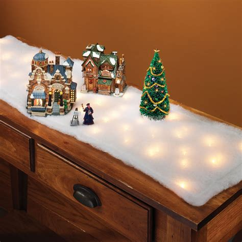 lighted snow table runner holiday table runner miles
