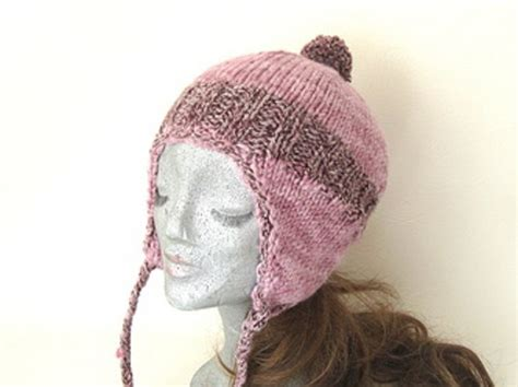 knit hat with ear flaps knitted hat with ear flaps dusky pink ear flap hat