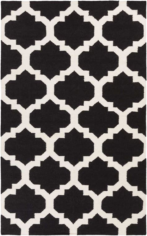 black and white accent rug minimalist living room style with black white quatrefoil