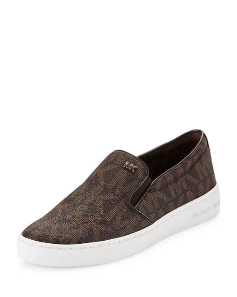 michael kors slip on sneakers michael michael kors keaton slip on sneaker in brown lyst