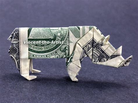 Dollar Bill Origami Animals - rhino money origami dollar bill animal vincent the artist
