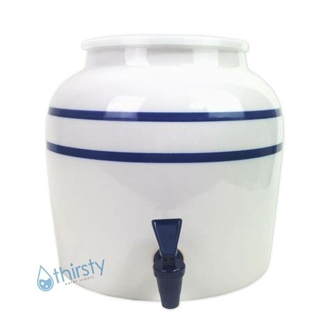 1 Gallon Ceramic Crock With Spigot - water crock blue pin stripes ceramic porcelain dispenser