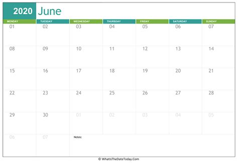 fillable june calendar  whatisthedatetodaycom