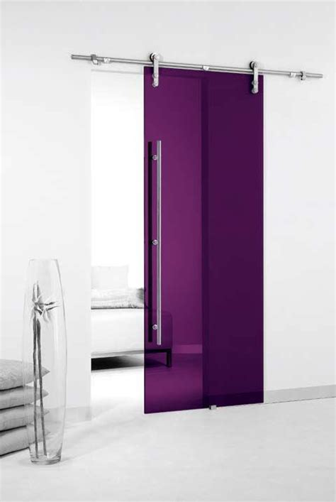 Colored Glass Sliding Door With Exposed Sliding Hardware Sliding Glass Barn Door Hardware