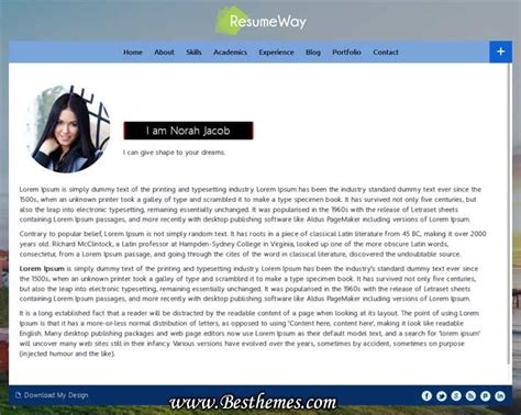 resumeway theme a responsive one page resume