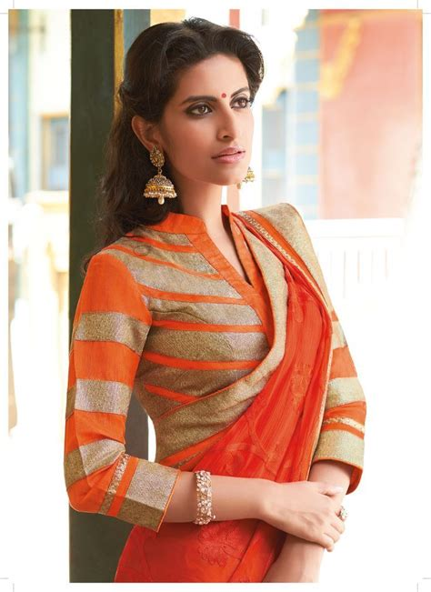 top blouse designs with quarter sleeves for saree