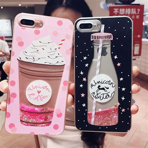 aokin girls bling glitter liquid phone cases  iphone  case silicone transparent  cover