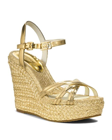 Wedges Gloss Gold michael kors michael cicely metallic wedge sandal in