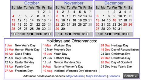 printable south african calendar template  printable calendar diy