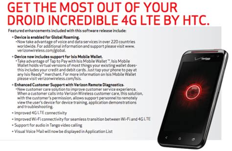 how to update verizon roaming verizon s droid incredible 4g upcoming update includes