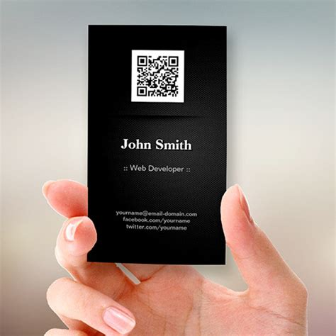 Free Business Card Template With Qr Code by Web Developer Black Qr Code Sided