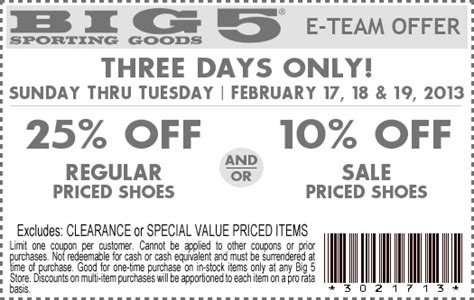sporting goods shoe coupons big 5 sporting goods 10 25 shoes printable coupon