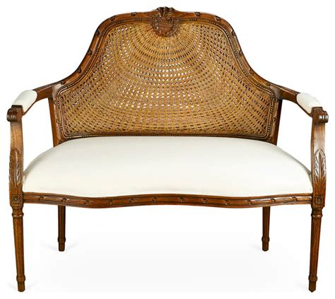 cane back settee seren cane back settee walnut contemporary loveseats