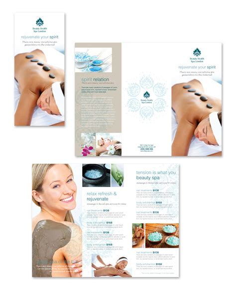 free templates for spa brochures day spa beauty salon tri fold brochure template