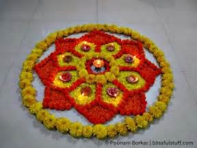 Rangoli Using Flowers - diwali special rangoli design with marigold flowers and