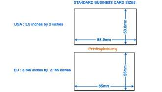 dimensions of standard business card business card sizes
