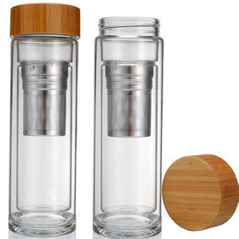 Uchii Wall Glass Tumbler With Bamboo Lid Gelas Kaca Tutup 25pcs lot free shipping wholesale 400ml bamboo lid walled glass tea tumbler includes