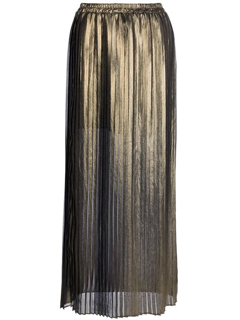 michael michael kors metallic pleated skirt in gold lyst