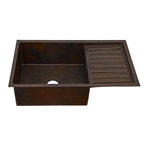 kitchen sink drain board sinkology klee undermount handmade solid copper sink 33 in