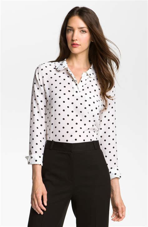 Blouse Atasan Polkadot equipment adele polka dot silk blouse in white lyst