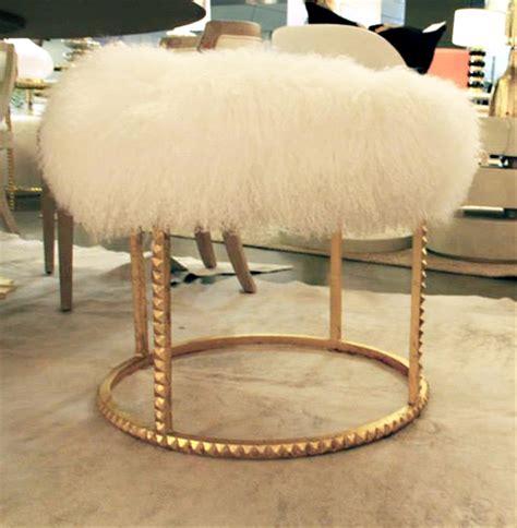 white and gold ottoman pom pom hollywood regency white lamb gold studded pouf