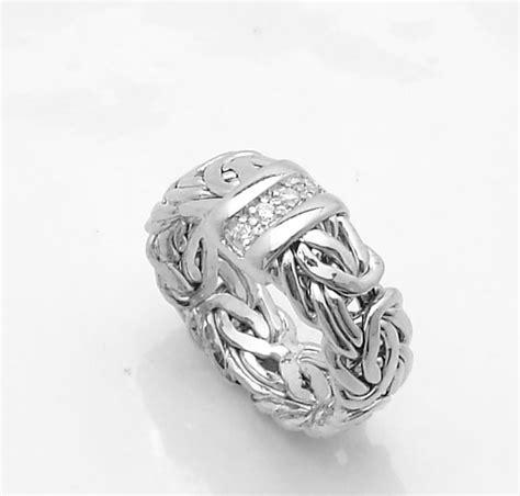 technibond byzantine cz band ring tarnish free platinum