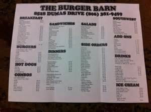 Barn 23 Menu Burger Barn Menu Menu For Burger Barn Amarillo Amarillo