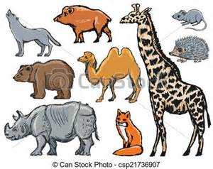 vector clipart of mammals set of illustrations of
