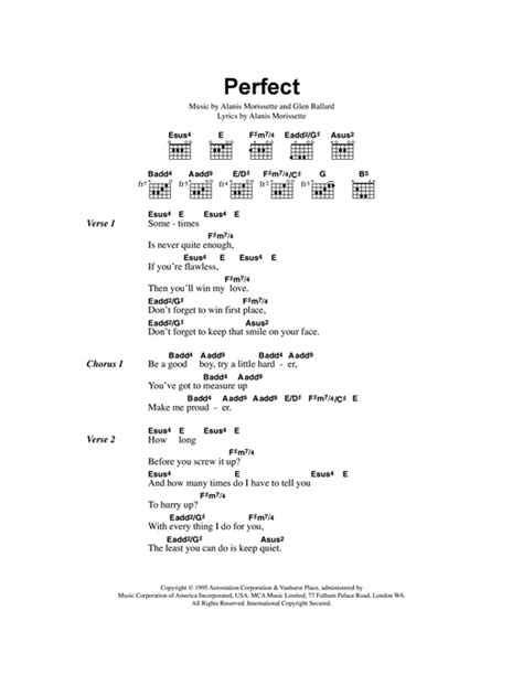 ed sheeran perfect no lyrics perfect sheet music by alanis morissette lyrics chords