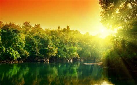 river sunset forest hd desktop wallpapers  hd