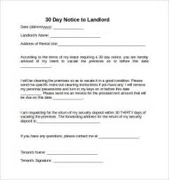 Notice Letter To Landlord Template by 30 Days Notice Letter To Landlord 7 Free