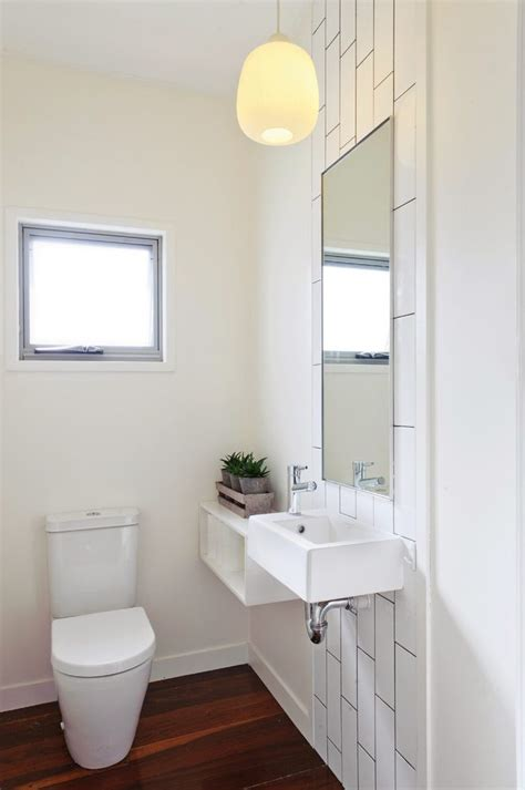 vertical subway tile powder room contemporary  white