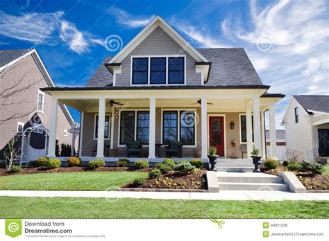 new home house exterior stock photo image of setting brand new custom home with a large front porch and