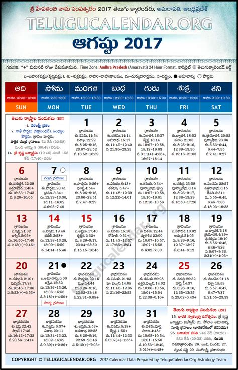 andhra pradesh telugu calendars 2017 august