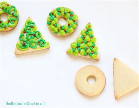 simple christmas wreath and tree cookies easy holiday cookies