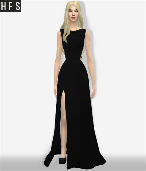 dresses sims 4 download maxi dress side cutout at haut fashion sims 187 sims 4 updates