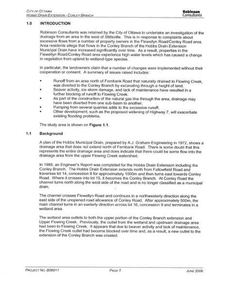 drainage report template report template