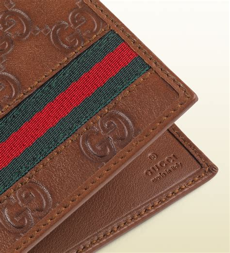 Gucci Color Center Leather Brown lyst gucci ssima leather web bi fold wallet in brown for