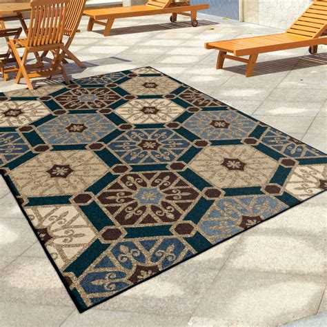 Large Outdoor Area Rugs Orian Rugs Indoor Outdoor Hexagons Partha Blue Area Large Rug 1834 8x11 Orian Rugs