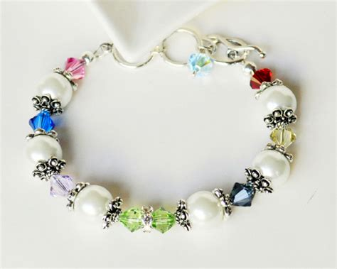 Handcrafted Beaded Bracelets - white pearl bracelet handmade beaded jewelry in silver beaded