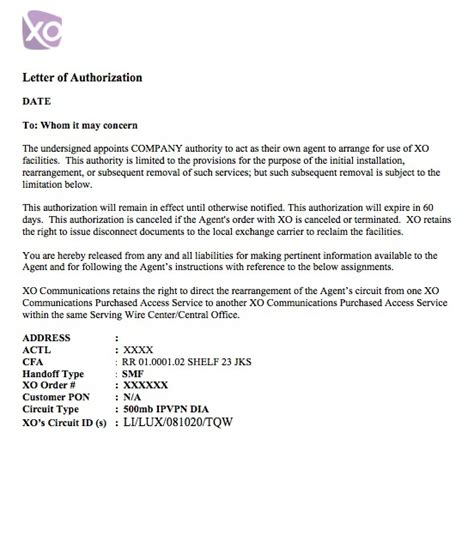 Transfer Equipment Letter Letter Of Authorization Exles Providers