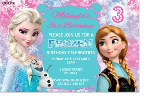frozen birthday invitation card template cu1156 frozen birthday invitation template