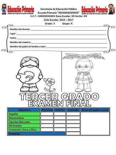 tercer grado educacin primaria part 7 examen final del tercer grado del ciclo escolar 2016