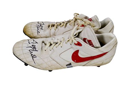 used football shoes lot detail jerry rice signed used football cleats