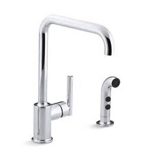 Kohler Purist Kitchen Faucet Kohler K 7508 Purist Single Handle Swing Spout Kitchen Faucet With Spray Homeclick