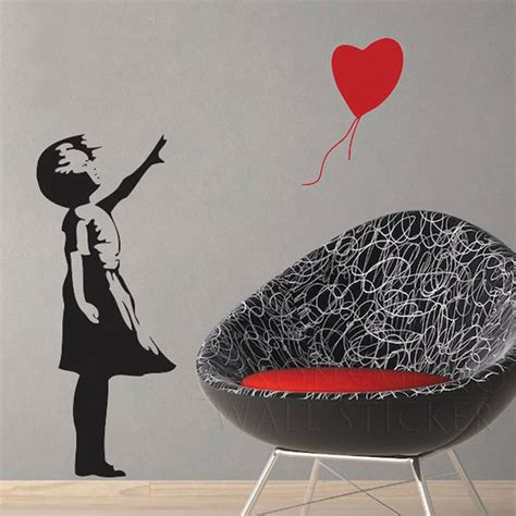 fashion red love heart wall stickers home decor life tree aliexpress com buy banksy style love heart balloon