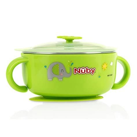 Nuby Sure Grip Bowl Green nuby sure grip warming stainless steel suction bowl