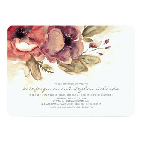 Wedding Card Zazzle by Watercolor Floral Vintage Botanical Wedding Card Zazzle